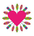 love heart feathers retro bohemian vector image