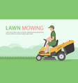 man on tractor lawnmower vector image