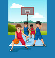 multi ethnic group of kids playing basketball vector image vector image