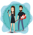 music festival live with couple playing electric vector image vector image