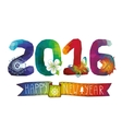 New year 2016Polygons numbericonsribbon vector image vector image