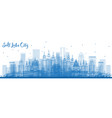 outline salt lake city usa skyline with blue vector image vector image