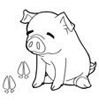 pig with paw print Coloring Page vector image