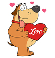 Puppy love valentines dog vector image