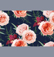 seamless floral pattern textile peach navy blue vector image