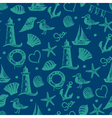 Seamless pattern hand drawn sea themed objects vector image