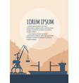 seaport banner with port crane silhouette vector image vector image