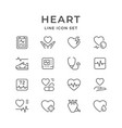 set line icons of heart vector image vector image