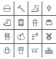 set of 16 garden icons includes bush pot rubber vector image vector image