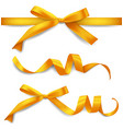 set realistic golden ribbons with bows vector image vector image