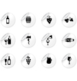 Stickers with wine icons vector image vector image