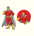 superhero smiling with thumb up in set vector image vector image