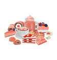 sweet strawberry taste drinks surrounded by vector image vector image
