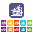 three dollar bills icons set vector image vector image