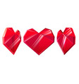 three red crystal hearts isolated on white vector image