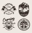 vintage monochrome camping logos vector image vector image