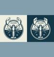 vintage sealife round emblem vector image