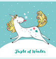 winter card with cute unicorn and snowflakes vector image vector image