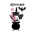 young woman in witch hat and broomstick on white vector image
