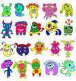 big set of cartoon cute monsters vector image