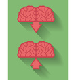 Icon of brain or mind upload and download Flat vector image