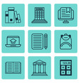 set of 9 school icons includes college home work vector image