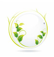 white glass ball with wet leaves vector image