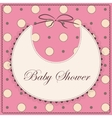 Baby shower with bib pink vintage vector image vector image