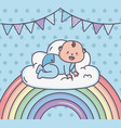 bashower little boy on cloud rainbow bunting vector image