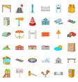 beautiful city icons set cartoon style vector image vector image