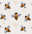 bee pattern funny colorful bees flying summer vector image