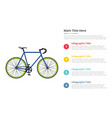 bicycle sport speed infographics template with 4 vector image vector image