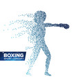 boxing player silhouette halftone dots dynamic vector image