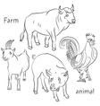 bull cock goat pig vector image vector image
