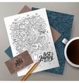 cartoon hand drawn doodles travel corporate vector image