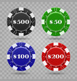 casino chips on transparent background vector image