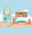 claw machine shelf table chairs room toys vector image