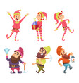 dwarves and elves funny fairytale characters in vector image vector image