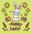 easter bunny near painted eggs with a face vector image vector image