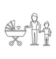 family avatar concept black and white vector image vector image