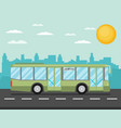 green city bus in front of city silhouette and vector image vector image