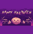 halloween party banner with spooky text vector image vector image