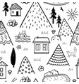 hand drawn tribal seamless pattern with cartoon vector image vector image