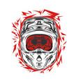 helmet motocross skull motocross rider vector image vector image