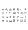 home furniture line icons office interior and vector image