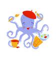 joyful octopus artist with pink cheeks in red