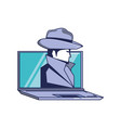 laptop with cyber security agent vector image vector image