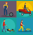 lawnmower service banner concept set flat style vector image