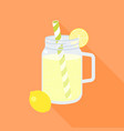 lemonade in mason jar and slice of lemon vector image vector image