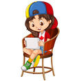 Little girl playing game on tablet vector image